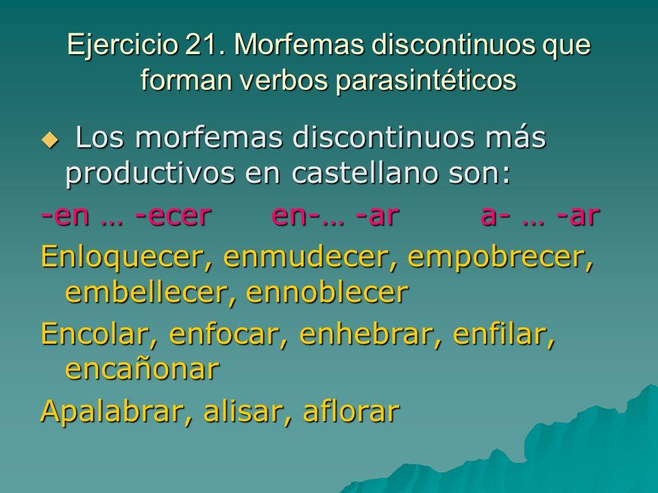 Ejercicio 21. Morfemas discontinuos que forman verbos parasintéticos Los morfemas discontinuos más productivos en castellano son: Los morfemas discont