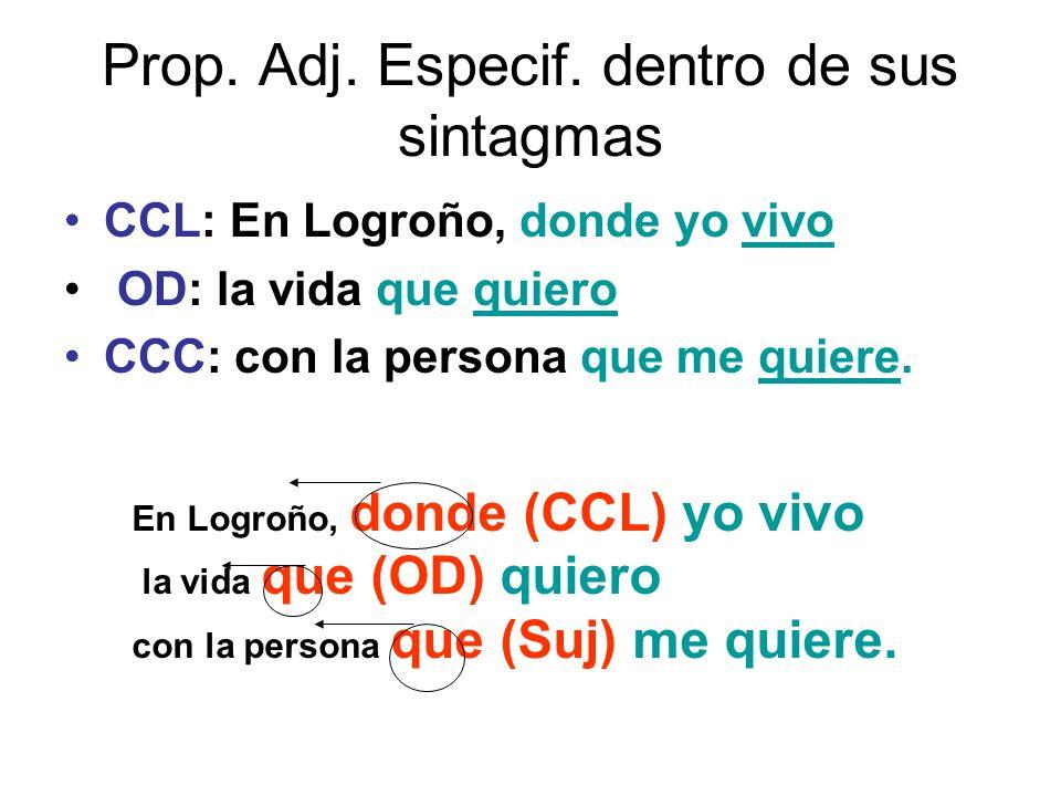 Prop. Adj. Especif. dentro de sus sintagmas CCL: En Logroño, donde yo vivo OD: la vida que quiero CCC: con la persona que me quiere. En Logroño, donde