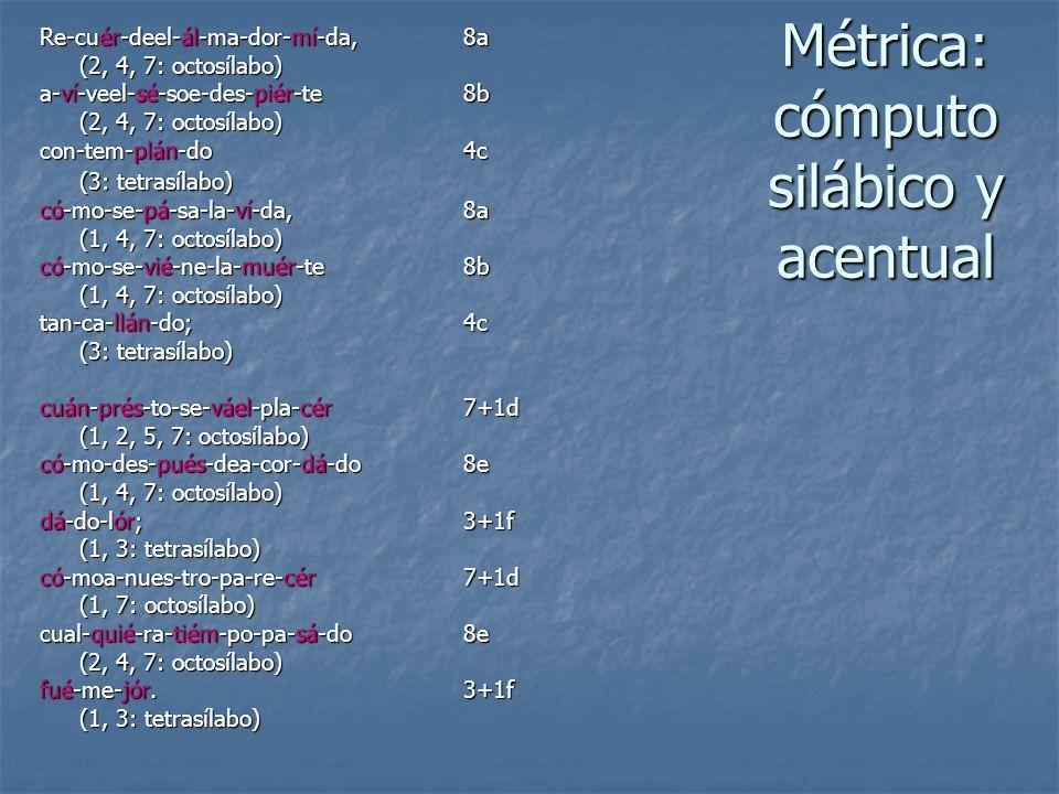Métrica: cómputo silábico y acentual Re-cuér-deel-ál-ma-dor-mí-da, 8a (2, 4, 7: octosílabo) a-ví-veel-sé-soe-des-piér-te8b (2, 4, 7: octosílabo) con-t
