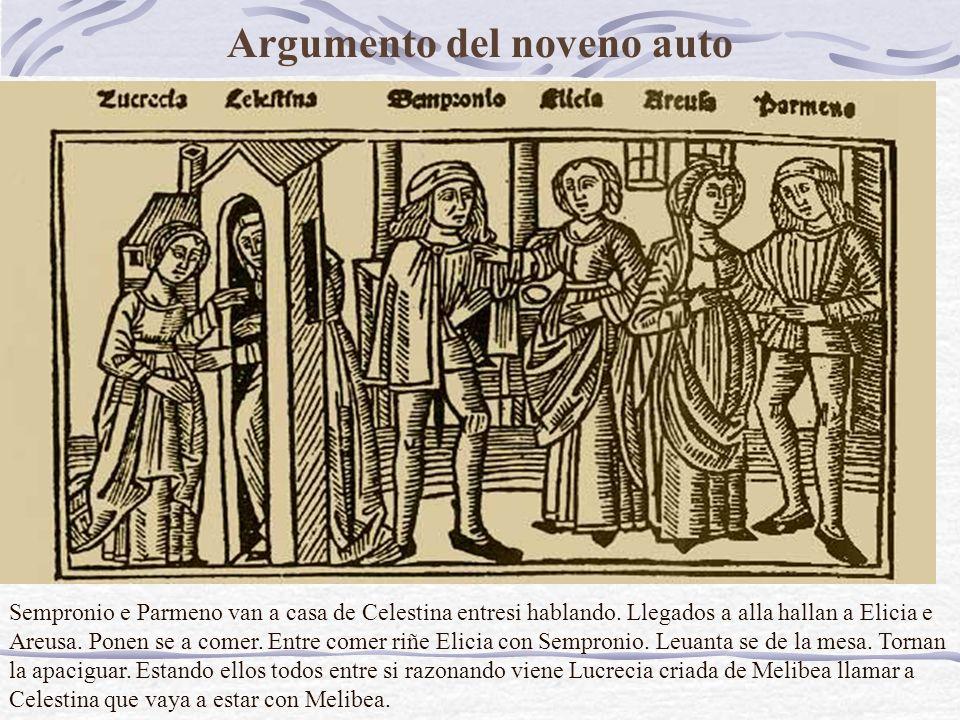 Argumento del noveno auto Sempronio e Parmeno van a casa de Celestina entresi hablando.
