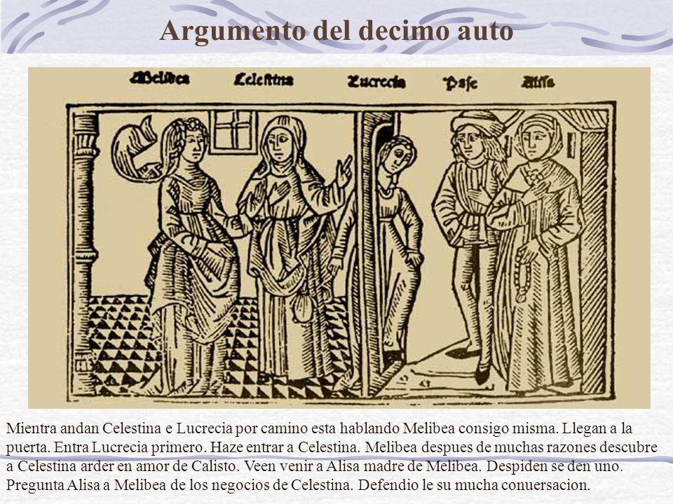 Argumento del decimo auto Mientra andan Celestina e Lucrecia por camino esta hablando Melibea consigo misma.