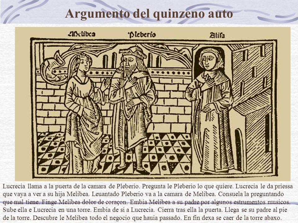 Argumento del quinzeno auto Lucrecia llama a la puerta de la camara de Pleberio.