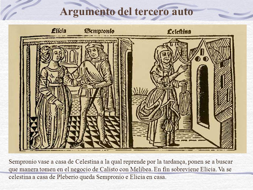 Argumento del tercero auto Sempronio vase a casa de Celestina a la qual reprende por la tardança, ponen se a buscar que manera tomen en el negocio de Calisto con Melibea.
