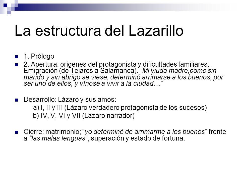 La estructura del Lazarillo 1. Prólogo 2. Apertura: orígenes del protagonista y dificultades familiares. Emigración (de Tejares a Salamanca). Mi viuda