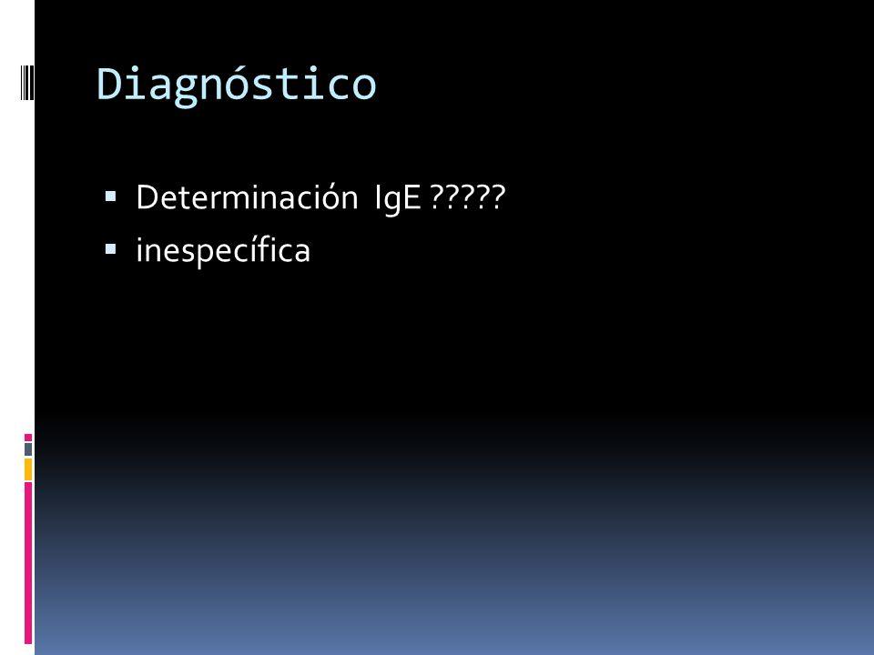 Diagnóstico Determinación IgE ????? inespecífica