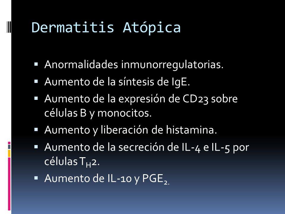 Dermatitis Atópica Anormalidades inmunorregulatorias. Aumento de la síntesis de IgE. Aumento de la expresión de CD23 sobre células B y monocitos. Aume