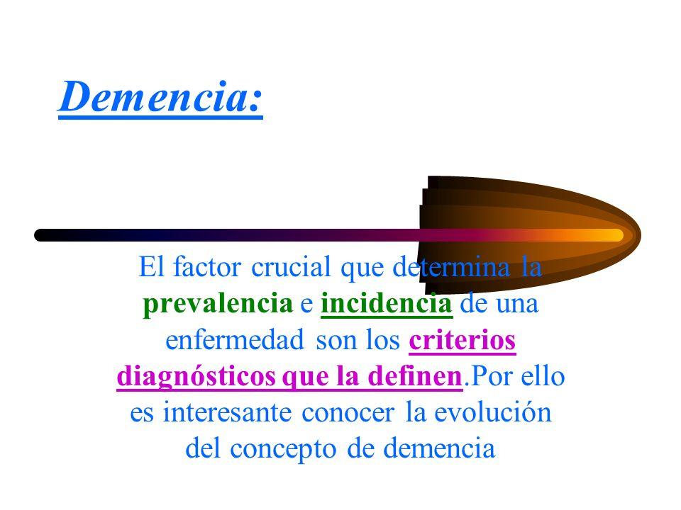 DEMENCIA Síndrome clínico orgánico, caracterizado por una disminución progresiva, adquirida y persistente de varias funciones intelectuales, sin alteración del estado de conciencia y suficientemente intensa para interferir de forma significativa en el desarrollo de las actividades sociales y ocupacionales del individuo