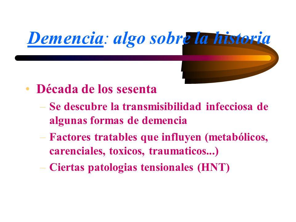 Demencia: algo sobre la historia Década de los sesenta –Se descubre la transmisibilidad infecciosa de algunas formas de demencia –Factores tratables q