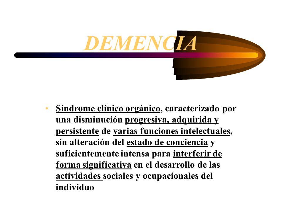 Criterios diagnósticos DSM IV 1- Deterioro de la memoria a corto plazo (5 ) y a largo plazo ( hechos, fechas o personas conocidas) 2- Al menos una de las siguientes alteraciones cognitivas: – Afasia: alteración del lenguaje: (comprender, nombrar) –Apraxia: pérdida de la facultad para llevar a cabo movimientos determinados con un objetivo, sin que exista ataxia ni parálisis –Agnosia (Fallo de reconocimiento o identificación) –Alteración de la capacidad ejecutiva o constructiva (planificar, organizar, abstraer etc)