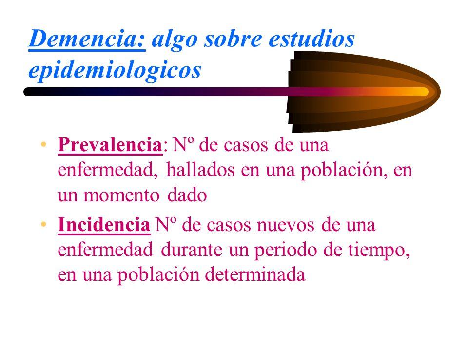 Demencia: algo sobre estudios epidemiologicos Prevalencia: Nº de casos de una enfermedad, hallados en una población, en un momento dado Incidencia Nº