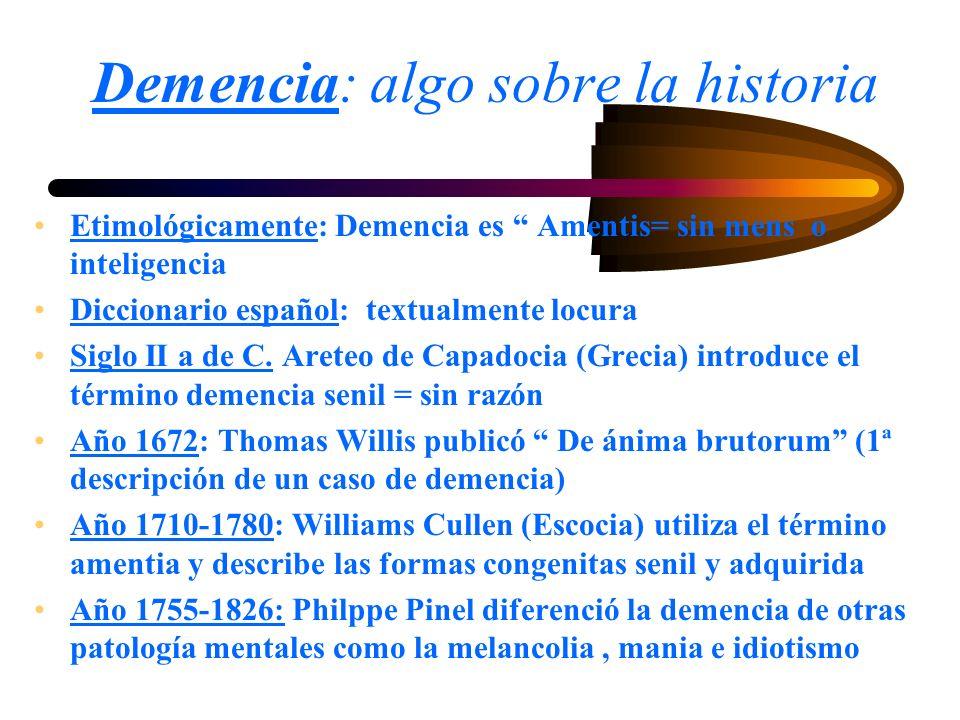 Demencia: algo sobre la historia Etimológicamente: Demencia es Amentis= sin mens o inteligencia Diccionario español: textualmente locura Siglo II a de