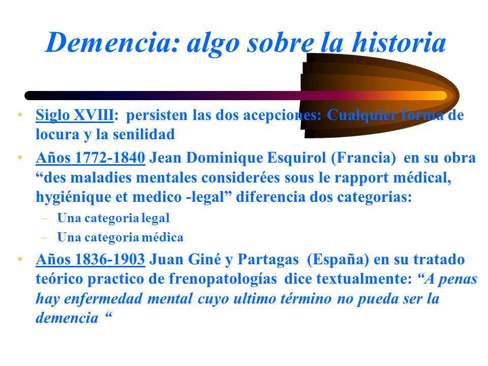 Demencia: algo sobre la historia Siglo XVIII: persisten las dos acepciones: Cualquier forma de locura y la senilidad Años 1772-1840 Jean Dominique Esq