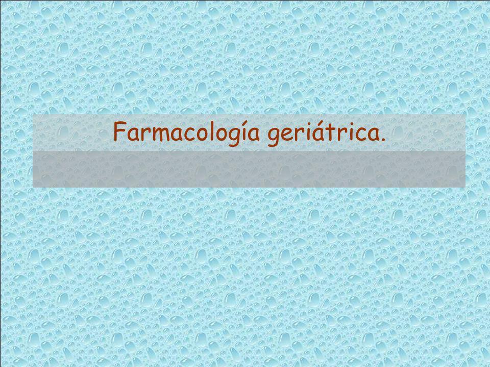 FACTORES QUE MODIFICAN LA RESPUESTA FARMACOLÓGICA EN EL ANCIANO Cambios fisiológicos Modificaciones : Farmacocinética Farmacodinámica RAM Polipatología Consumo medicamentos interacciones Factores psicosociales Automedicación Incumplimiento eficacia