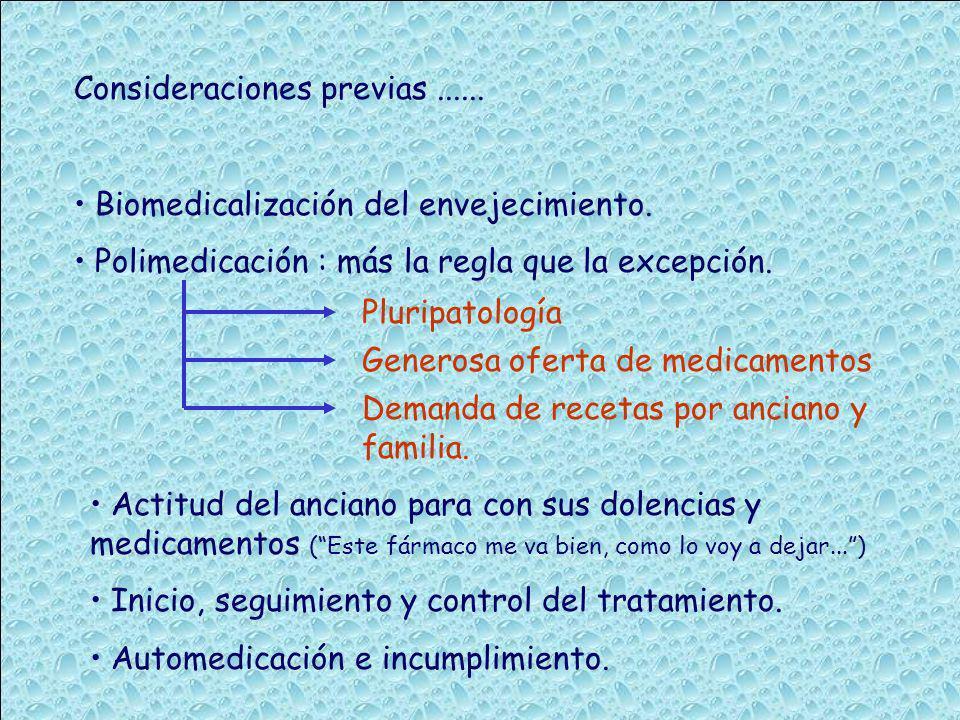 Consideraciones previas...... Biomedicalización del envejecimiento. Polimedicación : más la regla que la excepción. Pluripatología Generosa oferta de