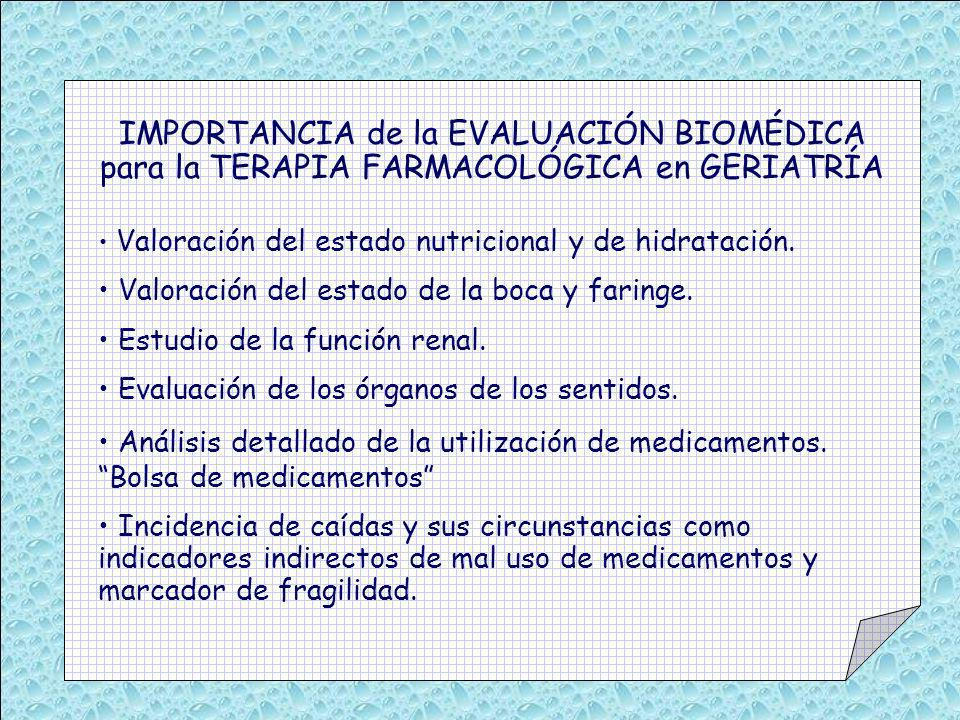 IMPORTANCIA de la EVALUACIÓN BIOMÉDICA para la TERAPIA FARMACOLÓGICA en GERIATRÍA Valoración del estado nutricional y de hidratación. Valoración del e
