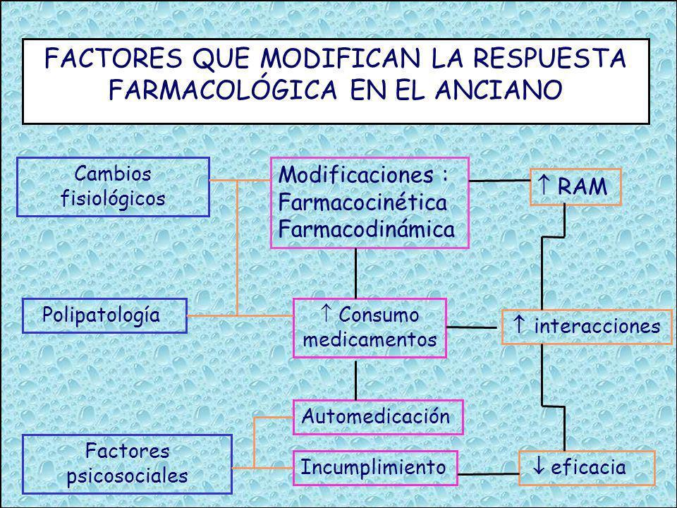 CAMBIOS FARMACODINÁMICOS Modificaciones en receptores : sensibilidad receptor nº de receptores Modificaciones en los mecanismos de homeostasis barorreceptores quimiorreceptores sistema inmunológico centro termorregulador.