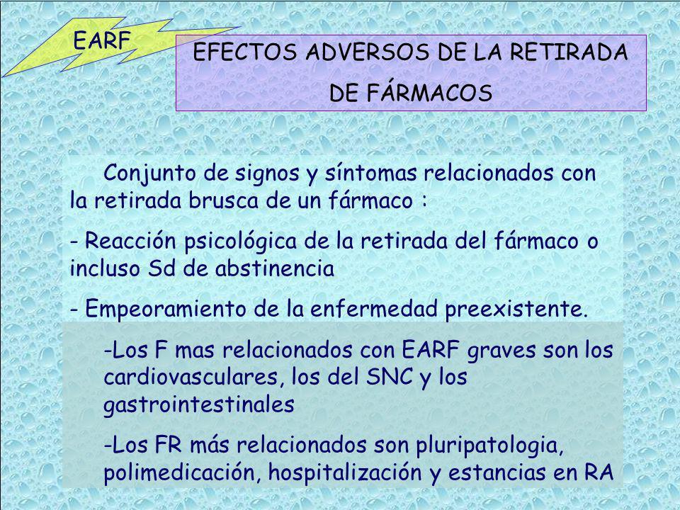 EARF EFECTOS ADVERSOS DE LA RETIRADA DE FÁRMACOS Conjunto de signos y síntomas relacionados con la retirada brusca de un fármaco : - Reacción psicológ