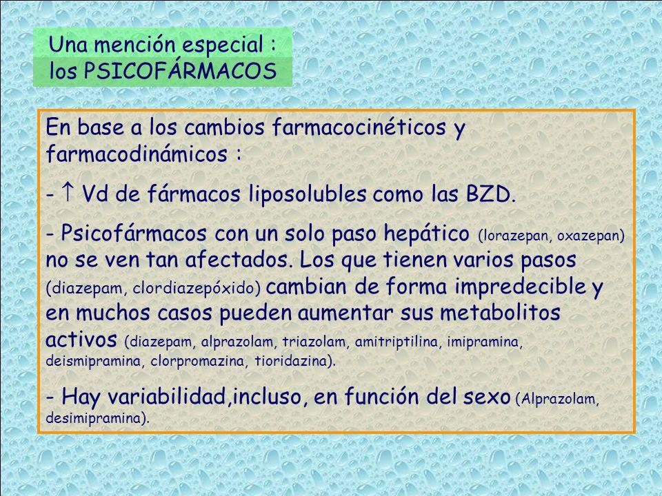 Una mención especial : los PSICOFÁRMACOS En base a los cambios farmacocinéticos y farmacodinámicos : - Vd de fármacos liposolubles como las BZD. - Psi