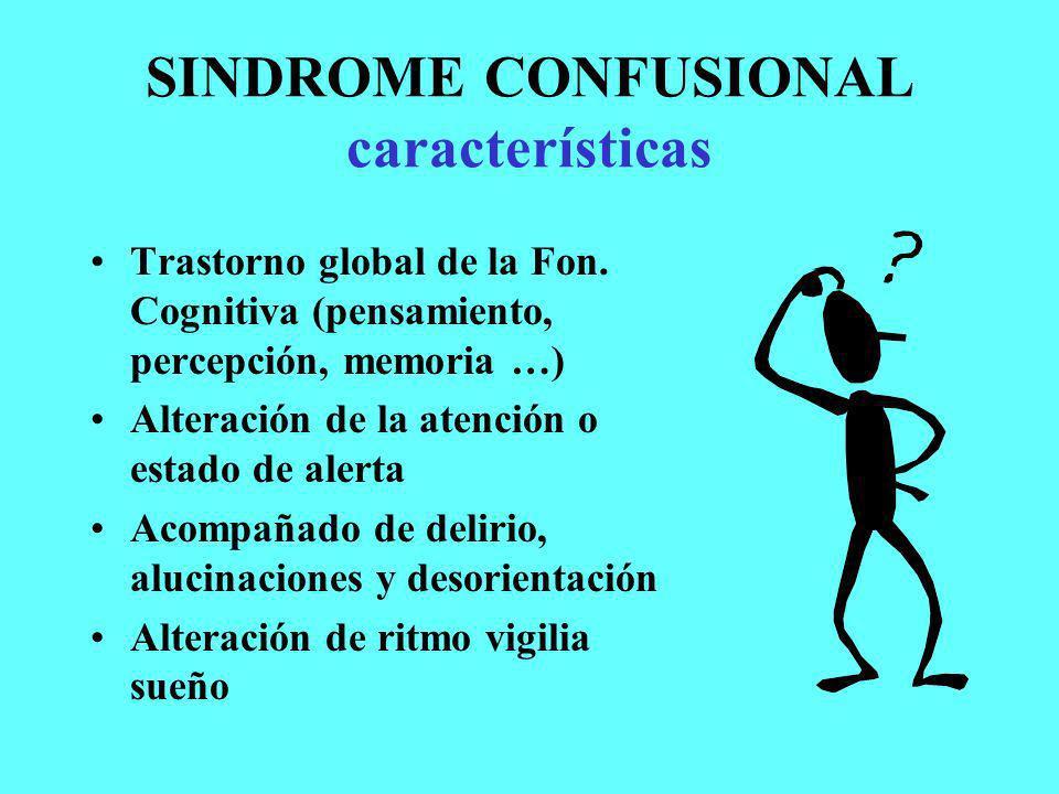 SINDROME CONFUSIONAL características Trastorno global de la Fon. Cognitiva (pensamiento, percepción, memoria …) Alteración de la atención o estado de