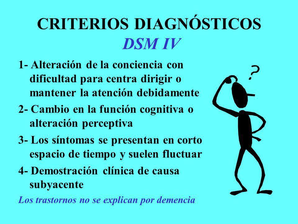 CRITERIOS DIAGNÓSTICOS DSM IV 1- Alteración de la conciencia con dificultad para centra dirigir o mantener la atención debidamente 2- Cambio en la fun