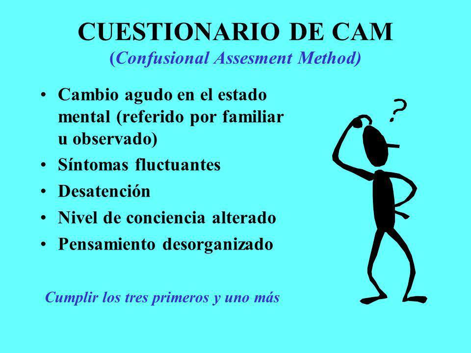 CUESTIONARIO DE CAM (Confusional Assesment Method) Cambio agudo en el estado mental (referido por familiar u observado) Síntomas fluctuantes Desatenci