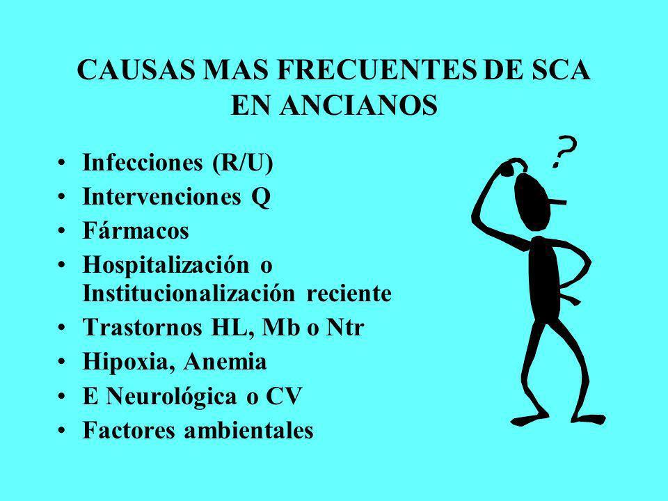 CAUSAS MAS FRECUENTES DE SCA EN ANCIANOS Infecciones (R/U) Intervenciones Q Fármacos Hospitalización o Institucionalización reciente Trastornos HL, Mb