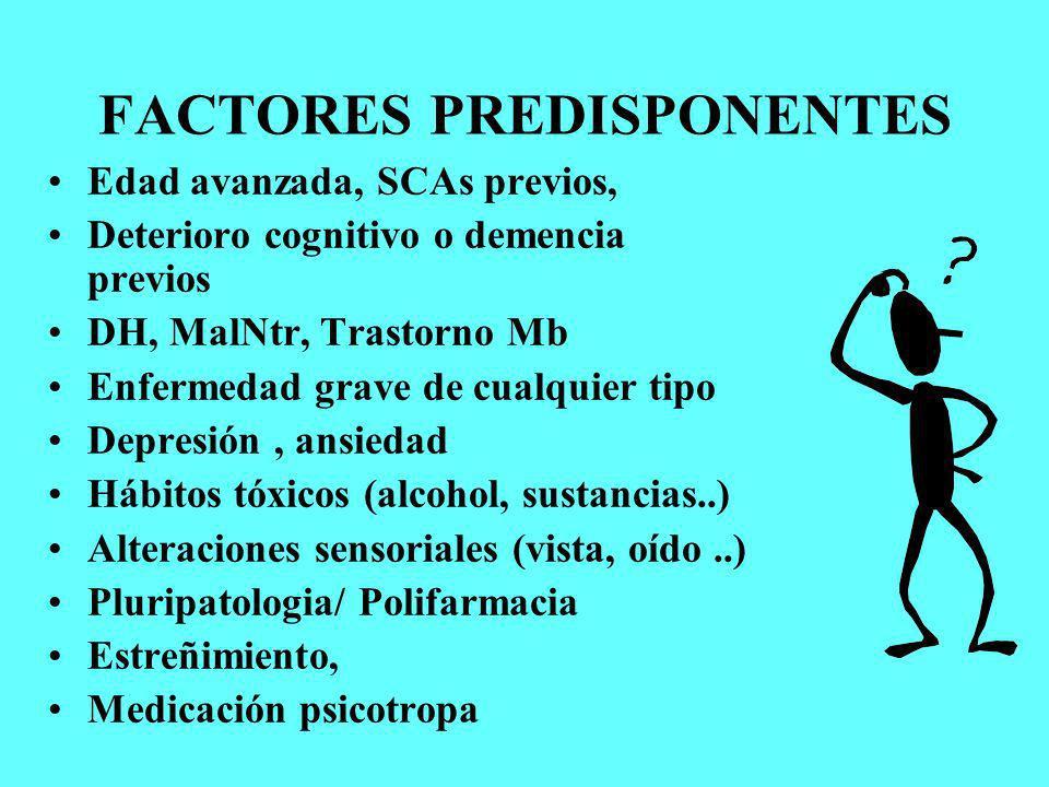 FACTORES PREDISPONENTES Edad avanzada, SCAs previos, Deterioro cognitivo o demencia previos DH, MalNtr, Trastorno Mb Enfermedad grave de cualquier tip