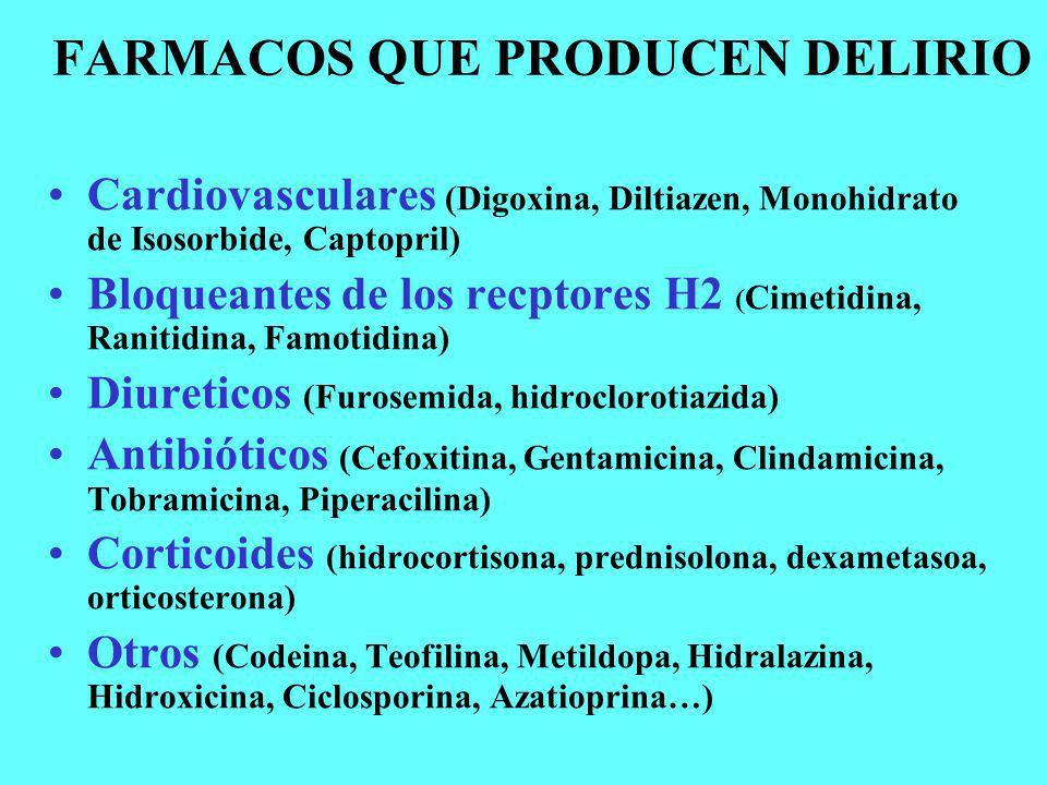 FARMACOS QUE PRODUCEN DELIRIO Cardiovasculares (Digoxina, Diltiazen, Monohidrato de Isosorbide, Captopril) Bloqueantes de los recptores H2 ( Cimetidin