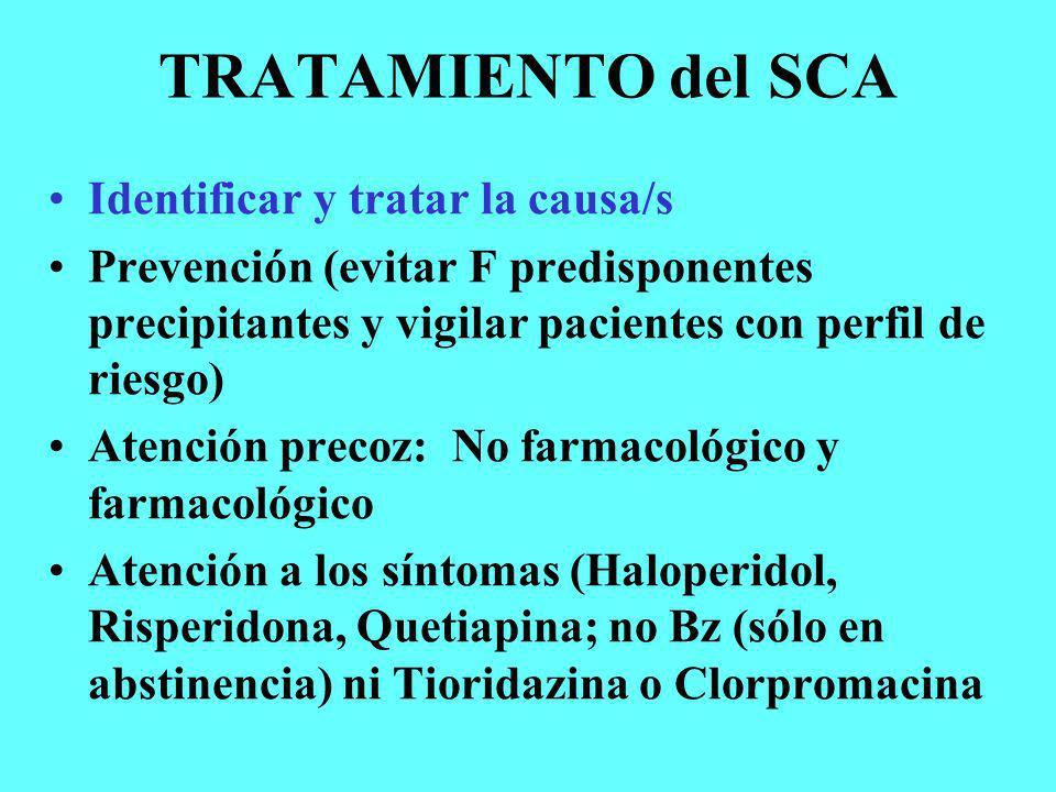 TRATAMIENTO del SCA Identificar y tratar la causa/s Prevención (evitar F predisponentes precipitantes y vigilar pacientes con perfil de riesgo) Atenci