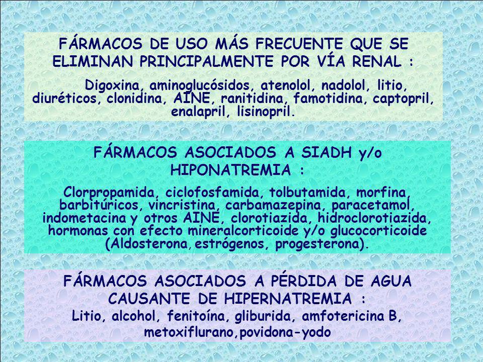 FÁRMACOS DE USO MÁS FRECUENTE QUE SE ELIMINAN PRINCIPALMENTE POR VÍA RENAL : Digoxina, aminoglucósidos, atenolol, nadolol, litio, diuréticos, clonidin
