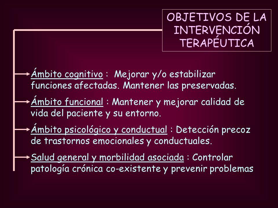OBJETIVOS DE LA INTERVENCIÓN TERAPÉUTICA Ámbito cognitivo : Mejorar y/o estabilizar funciones afectadas. Mantener las preservadas. Ámbito funcional :