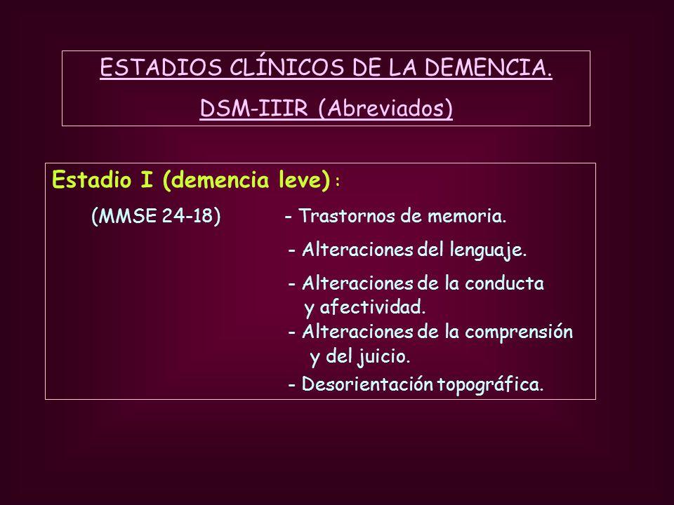 Estadio I (demencia leve) : (MMSE 24-18) - Trastornos de memoria. - Alteraciones del lenguaje. - Alteraciones de la conducta y afectividad. - Alteraci