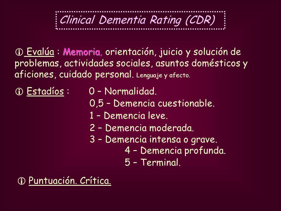Clinical Dementia Rating (CDR) Memoria Evalúa : Memoria, orientación, juicio y solución de problemas, actividades sociales, asuntos domésticos y afici