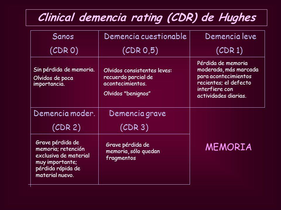 Sanos Demencia cuestionable Demencia leve (CDR 0) (CDR 0,5) (CDR 1) Sin pérdida de memoria. Olvidos de poca importancia. Olvidos consistentes leves: r