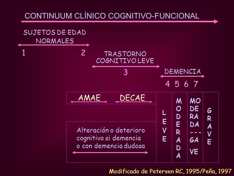 CONTINUUM CLÍNICO COGNITIVO-FUNCIONAL SUJETOS DE EDAD NORMALES 1 2 TRASTORNO COGNITIVO LEVE 3 DEMENCIA 4 5 6 7 AMAE DECAE LEVELEVE MODERADAMODERADA GR