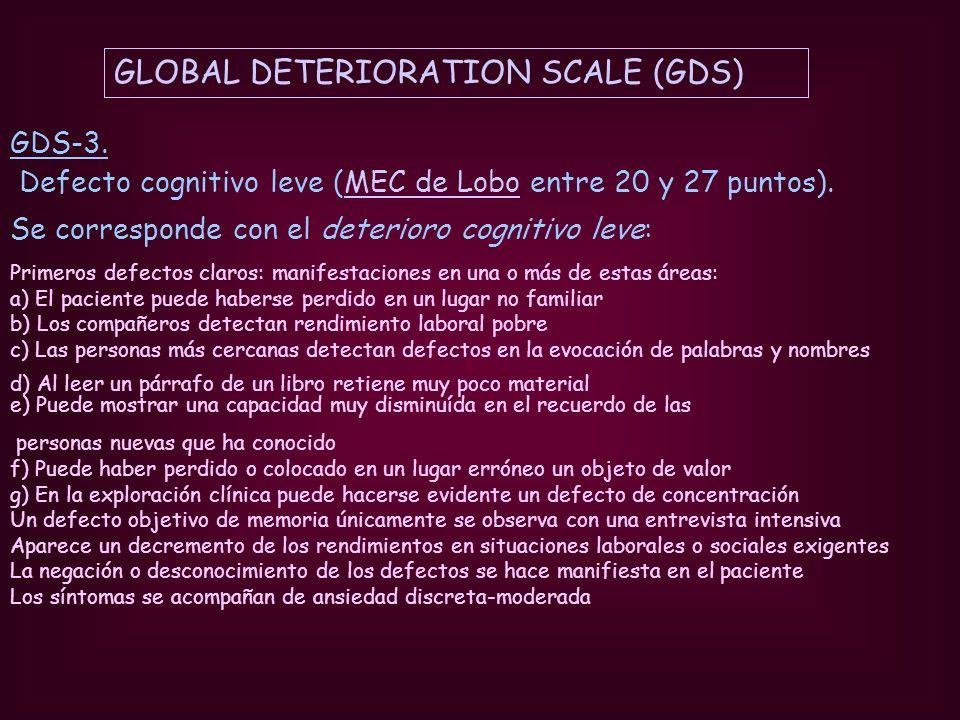 GDS-3. Defecto cognitivo leve (MEC de Lobo entre 20 y 27 puntos).MEC de Lobo Se corresponde con el deterioro cognitivo leve: Primeros defectos claros: