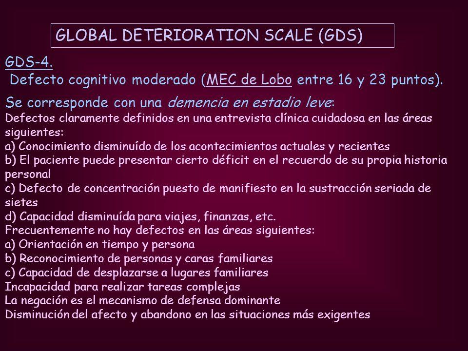GDS-4. Defecto cognitivo moderado (MEC de Lobo entre 16 y 23 puntos).MEC de Lobo Se corresponde con una demencia en estadio leve: Defectos claramente
