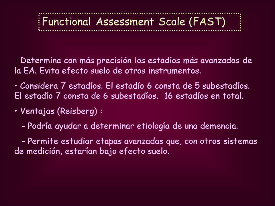 Functional Assessment Scale (FAST) Determina con más precisión los estadíos más avanzados de la EA. Evita efecto suelo de otros instrumentos. Consider