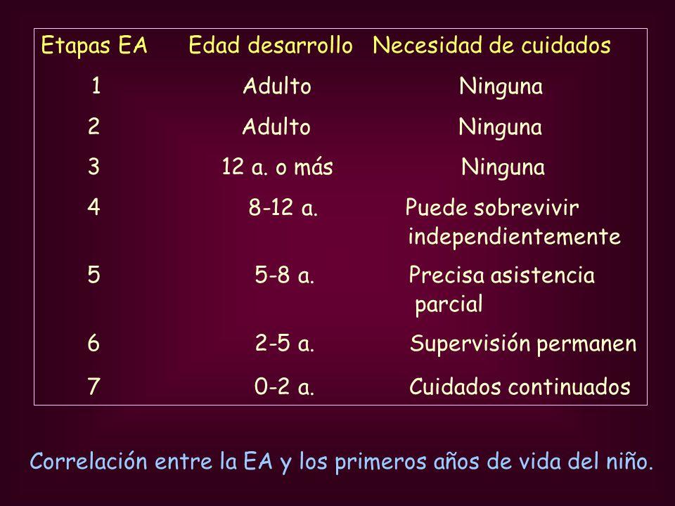Correlación entre la EA y los primeros años de vida del niño. Etapas EA Edad desarrollo Necesidad de cuidados 1 Adulto Ninguna 2 Adulto Ninguna 3 12 a
