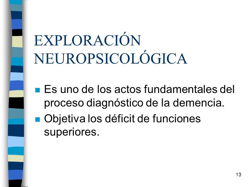 13 EXPLORACIÓN NEUROPSICOLÓGICA n Es uno de los actos fundamentales del proceso diagnóstico de la demencia. n Objetiva los déficit de funciones superi