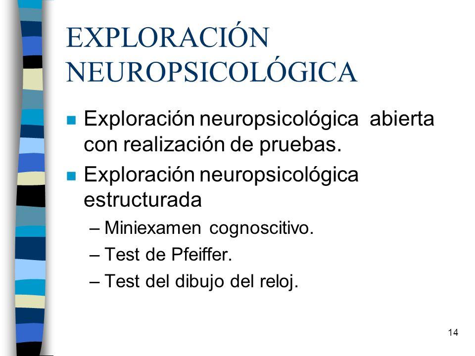 14 EXPLORACIÓN NEUROPSICOLÓGICA n Exploración neuropsicológica abierta con realización de pruebas. n Exploración neuropsicológica estructurada –Miniex