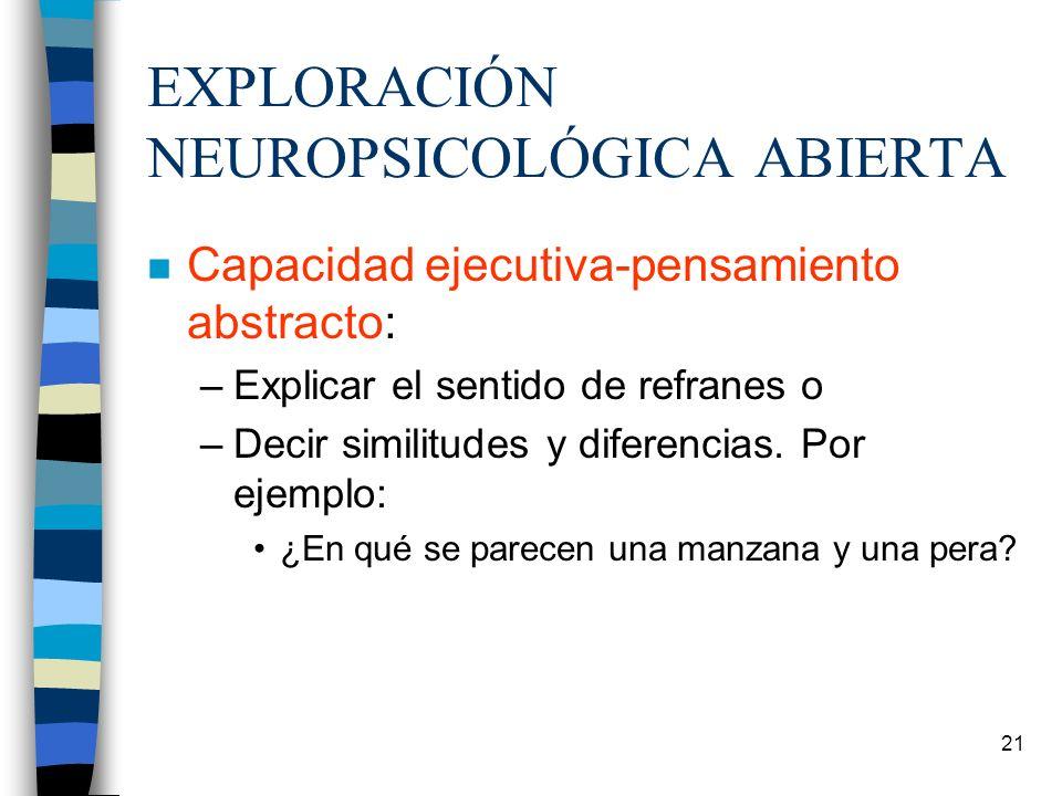 21 EXPLORACIÓN NEUROPSICOLÓGICA ABIERTA n Capacidad ejecutiva-pensamiento abstracto: –Explicar el sentido de refranes o –Decir similitudes y diferenci