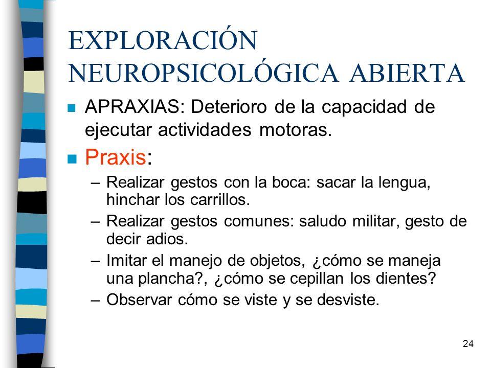 24 EXPLORACIÓN NEUROPSICOLÓGICA ABIERTA n APRAXIAS: Deterioro de la capacidad de ejecutar actividades motoras. n Praxis: –Realizar gestos con la boca: