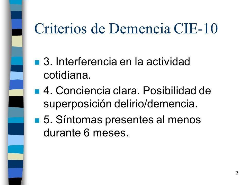 3 Criterios de Demencia CIE-10 n 3. Interferencia en la actividad cotidiana. n 4. Conciencia clara. Posibilidad de superposición delirio/demencia. n 5