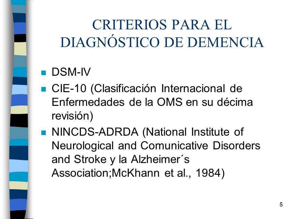5 CRITERIOS PARA EL DIAGNÓSTICO DE DEMENCIA n DSM-IV n CIE-10 (Clasificación Internacional de Enfermedades de la OMS en su décima revisión) n NINCDS-A