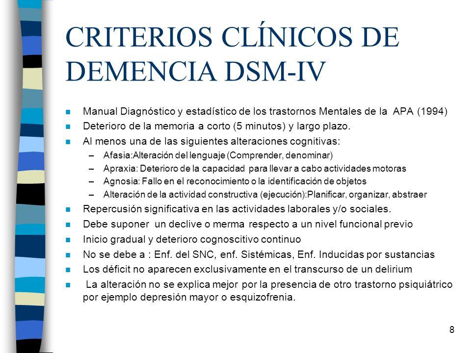 8 CRITERIOS CLÍNICOS DE DEMENCIA DSM-IV n Manual Diagnóstico y estadístico de los trastornos Mentales de la APA (1994) n Deterioro de la memoria a cor