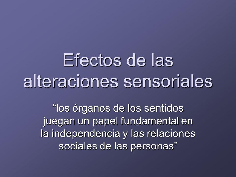 Efectos de las alteraciones sensoriales FuncionalPsicológicaSocialMortalidad