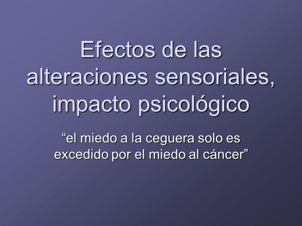 Efectos de las alteraciones sensoriales, impacto psicológico ComunicaciónInseguridadAnsiedadMiedo Reacciones fóbicas Trastornos del humor Mala percepción de salud Deseo de morir Depresión Deterioro cognitivo Delirium Ideas delirantes