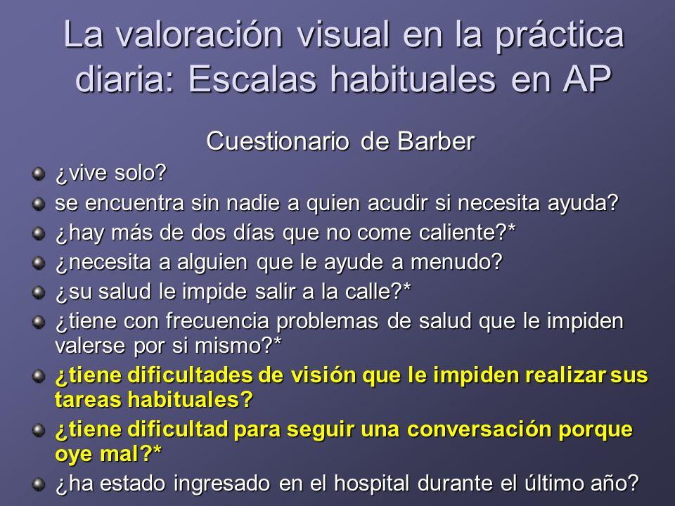 La valoración visual en la práctica diaria: Escalas habituales en AP Cuestionario de Hèbert ¿vive solo.
