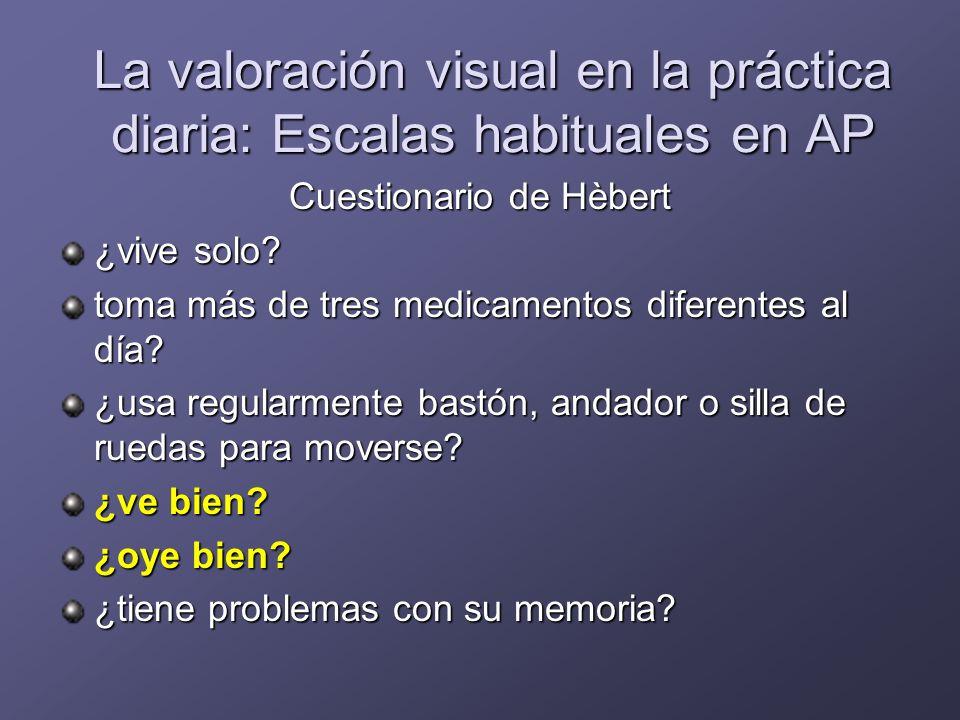 Valoración visual en la práctica diaria Escalas de uso en geriatría AVD básicas e instrumentales Escalas de depresión Estudios neuropsicológicos Entrevistas sociales estructuradas